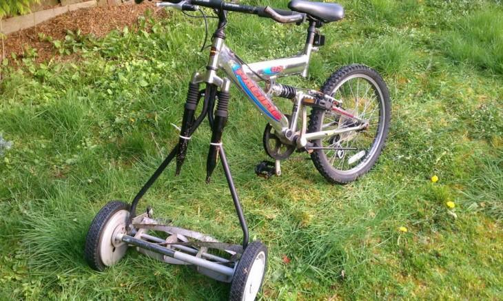 Газонокосилка-велосипед