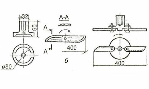Схема крепления ножей к пластине